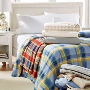 Soft Fleece Blanket, Blue/Yellow Plaid - TWIN